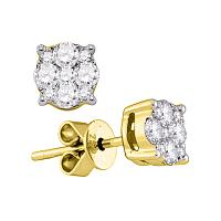 18kt Yellow Gold Womens Round Diamond Cluster Stud Earrings 5/8 Cttw