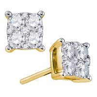 18kt Yellow Gold Womens Round Diamond Square Cluster Screwback Earrings 1-1/3 Cttw