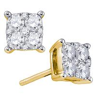 18kt Yellow Gold Womens Round Diamond Square Cluster Screwback Earrings 1-1/2 Cttw