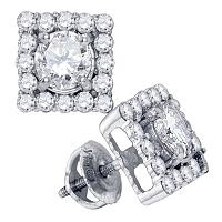 14kt White Gold Womens Round Diamond Square Frame Solitaire Stud Earrings 1-3/4 Cttw