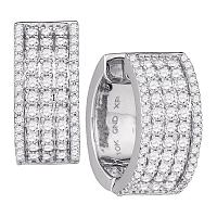10kt White Gold Womens Round Diamond Huggie Earrings 1-5/8 Cttw