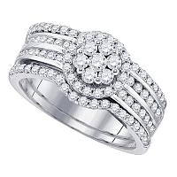 14kt White Gold Womens Round Diamond Cluster 3-Piece Bridal Wedding Engagement Ring Band Set 1-1/10 Cttw