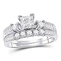 10kt White Gold Womens Princess Diamond Bridal Wedding Engagement Ring Band Set 7/8 Cttw