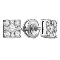 10k White Gold Round Cluster Diamond Womens Screwback Stud Earrings 1/2 Cttw