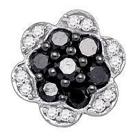 10kt White Gold Womens Round Black Color Enhanced Diamond Flower Cluster Earrings 1/2 Cttw