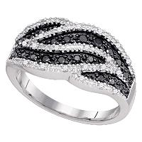 10k White Gold Womens Black Color Enhanced Round Diamond Cocktail Band Ring 1/2 Cttw