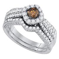 14kt White Gold Womens Round Cognac-brown Diamond Halo Bridal Wedding Engagement Ring Band Set 1-1/6 Cttw