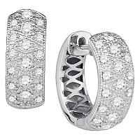 14kt White Gold Womens Round Diamond Huggie Earrings 7/8 Cttw