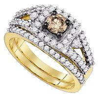 14kt Yellow Gold Womens Round Cognac-brown Color Enhanced Diamond Bridal Wedding Engagement Ring Band Set 1.00 Cttw