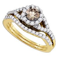 14kt Yellow Gold Round Cognac-brown Diamond Bridal Wedding Engagement Ring Band Set 1.00 Cttw