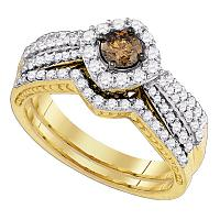 14kt Yellow Gold Womens Cognac-brown Diamond Bridal Wedding Engagement Ring Band Set 1-1/6 Cttw