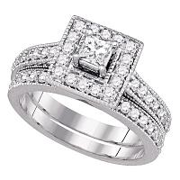 14k White Gold Princess Diamond Solitaire Halo Wedding Bridal Engagement Ring Band Set 1.00 Cttw