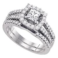 14k White Gold Womens Princess Diamond Bridal Wedding Engagement Ring Band Set 1 Cttw