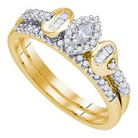 10k Yellow Gold Womens Marquise Diamond Halo Bridal Wedding Engagement Ring Band Set 1/3 Cttw