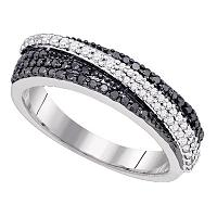10kt White Gold Womens Round Black Color Enhanced Diamond Crossover Band Ring 3/8 Cttw