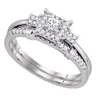 10k White Gold Womens Princess Diamond Halo Bridal Wedding Engagement Ring Set 1/3 Cttw