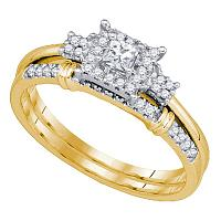10k Yellow Gold Womens Princess Diamond Halo Bridal Wedding Engagement Ring Set 1/3 Cttw