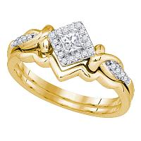 10k Yellow Gold Womens Princess Diamond Bridal Wedding Engagement Ring Band Set 1/4 Cttw