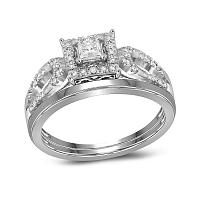 10kt White Gold Womens Diamond Round Bridal Wedding Engagement Ring Band Set 1/4 Cttw