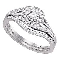 10k White Gold Round Diamond Cluster Womens Wedding Flower Floral Bridal Ring Set 1/4 Cttw