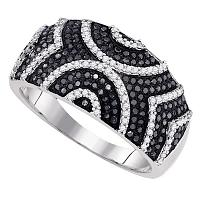 10kt White Gold Womens Round Black Color Enhanced Diamond Symmetrical Stripe Band Ring 5/8 Cttw