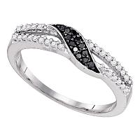 10k White Gold Black Color Enhanced Diamond Slender Womens Band Ring Unique 1/6 Cttw