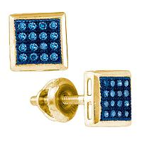 10k Yellow Gold Womens Blue Color Enhanced Diamond Square Cluster Screwback Stud Earrings 1/10 Cttw