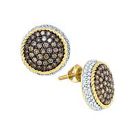 10kt Yellow Gold Womens Round Cognac-brown Color Enhanced Diamond Roped Cluster Earrings 1-1/3 Cttw