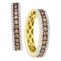 14kt Yellow Gold Womens Round Cognac-brown Color Enhanced Diamond Hoop Earrings 1.00 Cttw