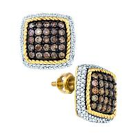 10kt Yellow Gold Womens Round Cognac-brown Color Enhanced Diamond Square Rope Frame Earrings 1-1/4 Cttw