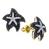 10kt Yellow Gold Womens Round Black Color Enhanced Diamond Starfish Stud Earrings 3/8 Cttw