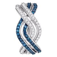 10kt White Gold Womens Round Blue Color Enhanced Diamond Entwined Woven Stripe Hoop Earrings 5/8 Cttw