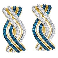 10kt Yellow Gold Womens Round Blue Color Enhanced Diamond Entwined Woven Stripe Hoop Earrings 5/8 Cttw