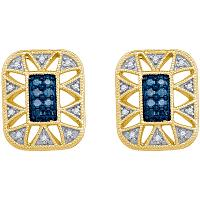 10kt Yellow Gold Womens Round Blue Color Enhanced Diamond Rectangle Frame Cluster Earrings 1/4 Cttw