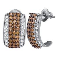 10kt White Gold Womens Round Cognac-brown Color Enhanced Diamond Stud Earrings 1-7/8 Cttw
