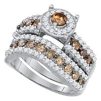 10kt White Gold Womens Round Cognac-brown Color Enhanced Diamond Bridal Wedding Engagement Ring Band Set 1-3/4 Cttw