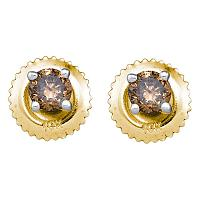10kt Yellow Gold Womens Round Brown Color Enhanced Diamond Solitaire Stud Earrings 1/4 Cttw