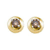 10kt Yellow Gold Womens Round Brown Color Enhanced Diamond Stud Earrings 1/2 Cttw