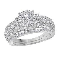 14kt White Gold Womens Round Diamond Solitaire Cluster Bridal Wedding Engagement Ring Band Set 1-1/2 Cttw