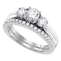 14kt White Gold Womens Round Diamond 3-Stone Bridal Wedding Engagement Ring Band Set 1.00 Cttw
