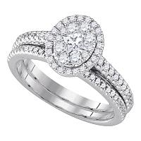 14kt White Gold Womens Diamond Oval Cluster Halo Bridal Wedding Engagement Ring Band Set 3/4 Cttw