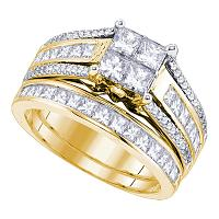 14kt Yellow Gold Womens Princess Diamond Cluster Bridal Wedding Engagement Ring Band Set 1-7/8 Cttw