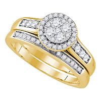 14kt Yellow Gold Womens Round Diamond Cluster Halo Bridal Wedding Engagement Ring Band Set 5/8 Cttw