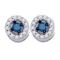 10kt White Gold Womens Round Blue Color Enhanced Diamond Stud Earrings 1/4 Cttw