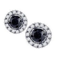 10kt White Gold Womens Round Black Color Enhanced Diamond Solitaire Circle Frame Earrings 1.00 Cttw