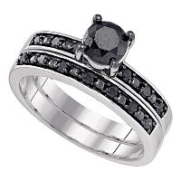 10kt White Gold Womens Round Black Color Enhanced Diamond Bridal Wedding Engagement Ring Band Set 1.00 Cttw