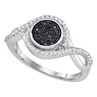 10kt White Gold Womens Round Black Color Enhanced Diamond Cluster Ring 1/5 Cttw
