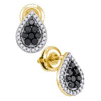 10kt Yellow Gold Womens Round Black Color Enhanced Diamond Teardrop Cluster Stud Earrings 1/2 Cttw