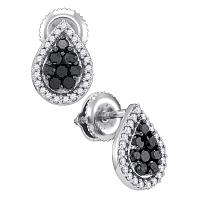 10kt White Gold Womens Round Black Color Enhanced Diamond Teardrop Cluster Stud Earrings 1/2 Cttw