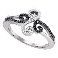 10kt White Gold Womens Round Black Color Enhanced Diamond Swirled Whimsical Band Ring 1/5 Cttw